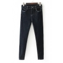 New Stylish Zip Fly Simple Plain Skinny Jeans