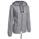 Simple Plain Zip Placket Long Sleeve Waterproof Raincoat