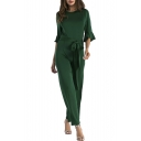 Chic Round Neck Half Bell Sleeves Bow Tied-Waist Straight Legs Plain Jumpsuit
