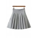 Casual Side-Zippered High-Waist Pleated Plain Mini Skirt