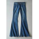 Simple Zip Fly Light-Wash Bootcut Jeans with Pockets