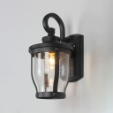 Industrial Wall Sconce in Vintage Style with Seeded Glass Shade, Black