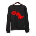 Leisure Letter Dinosaur Print Long Sleeve Round Neck Pullover Sweatshirt