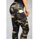 Simple Camouflage Pattern Zip Fly Skinny Pants