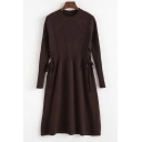 Fashion Plain Long Sleeve Gathered Waist Round Neck Knitted Skater Dress