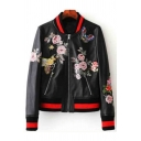 New Stylish Striped Trim Floral Pattern Zipper Stand-Up Collar Biker Jacket