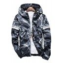New Fashion Camouflage Pattern Zip Up Long Sleeve Coat