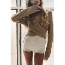 Chic Plain V-Neck Long Sleeve Pullover Sweater