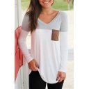 Simple Color Block V-Neck Long Sleeve Tee