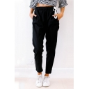 New Simple Drawstring Mid Waist Crop Tapered Pants