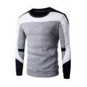 Men's Round Contrast Neck Long Sleeve Color Block Patchwork Sweatshirt