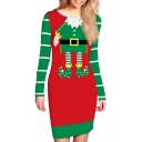 Christmas Santa Printed Color Block Round Neck Long Sleeve Mini Bodycon Dress