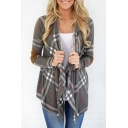 New Fashion Plaid Pattern Waterfall Long Sleeve Coat
