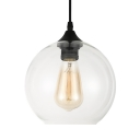 Black Finish Orb Pendant Light Concise Simple Glass Shade 1 Light Hanging Ceiling Lamp for Hallway