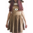 New Fashion Bear Pattern Pleated Mini Overall Dress with Hood