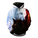Contrasted Wolf Animal Printed Long Sleeve Hoodie with Pocket