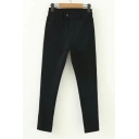 New Stylish Zip Fly Two Button Simple Plain Skinny Jeans