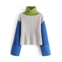 New Stylish Color Block Print Turtleneck Long Sleeve Pullover Sweater