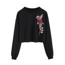 Chic Floral Embroidered Long Sleeve Round Neck Pullover Sweatshirt