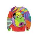 Color Block Cartoon Printed Long Sleeves Round Neck Pullover Sweatshirt