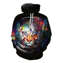 Casual Lion Print Drawstring Hood Long Sleeve Pocket Hoodie
