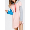 Stylish Color Block Long Sleeves Mini Hooded Dress