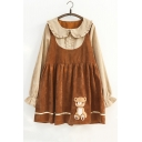 Chic Simple Bear Embroidered Two-Piece Long Sleeve Shift Mini Dress