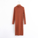 Simple Plain Long Sleeve Turtleneck Split Side Knitted Dress
