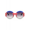 Trendy Colorful Sequined Round Spectacles