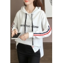 Letter Embroidered Split Side Long Sleeve Hooded Tee