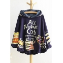 New Fashion Cartoon Cat Print Hooded Ruffle Hem Long Sleeve Cape Coat