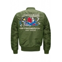 Letter Cartoon Embroidered Stand-Up Collar Long Sleeve Bomber Jacket