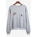 Fashion Floral Gun Print Round Neck Long Sleeve Pullover Sweatshirt