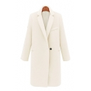 New Stylish Single Button Notched Lapel Long Sleeve Plain Tunic Coat