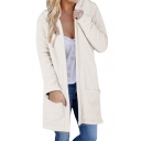 New Fashion Simple Plain Open Front Hooded Long Sleeve Coat