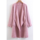 New Fashion Simple Plain Lapel Open Front Long Sleeve Cardigan