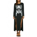 New Fashion Bone Print Split Side Round Neck Long Sleeve Shift Maxi Dress