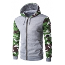 New Fashion Camouflage Color Block Long Sleeve Hooded Coat