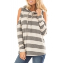New Fashion Leisure Color Block Striped Cold Shoulder Long Sleeve Tee