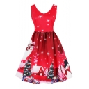 New Christmas Tree House Deer Snowman Printed V-Neck Sleeveless Fit & Flare Dress