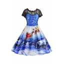 Snow Santa Deer Christmas Printed Short Sleeve Midi Fit & Flare Lace Panel Dress