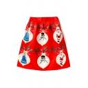 New Fashion Christmas Angels Print A-Line Midi Skirt