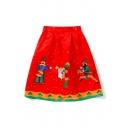 Fashionable Christmas Collection Cartoon Print A-Line Midi Skirt