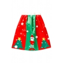 Christmas Collection Color Block Santa Vertical Striped A-Line Midi Skirt