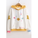 Color Block Cartoon Universe Print Long Sleeve Hoodie