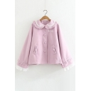 New Fashion Simple Ruffle Hem Long Sleeve Woolen Coat