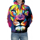 Colorful Lion Printed Long Sleeve Hoodie with Kangaroo Pocket