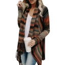 New Fashion Striped Tassel Hem Long Sleeve Cardigan
