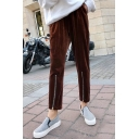 New Stylish Elastic Waist Zipper Hem Velvet Simple Plain Harem Pants