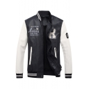 Fashion Embroidery Letter Pattern Stand-Up Collar Long Sleeve Faux Leather Jacket